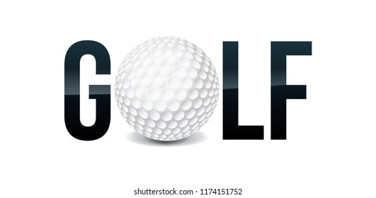 The word GOLF and ball word art concept illustration. Vector EPS 10 available.