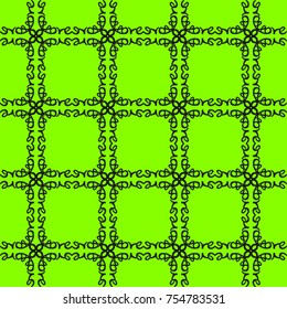 Word grid on green - the word love reflected and repeated into a seamless pattern