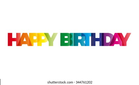 The word Happy Birthday. Vector banner with the text colored rainbow