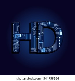 Word HD (high definition) with a technological electronics circuit.