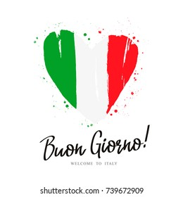 The word Hello in Italian. Flag of Italy in the form of a big heart. Vector illustration on white background.