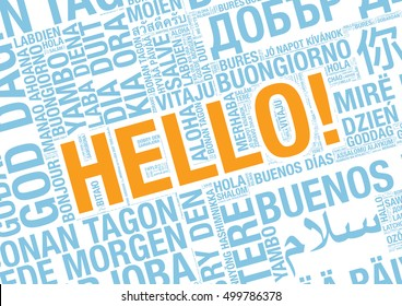 Word Hello in many languages, vector word cloud concept illustration