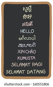 The word hello in South East Asian languages on Black board