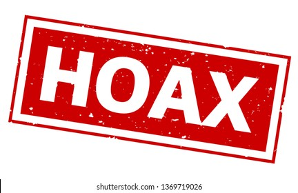 word HOAX on red rubber stamp print
