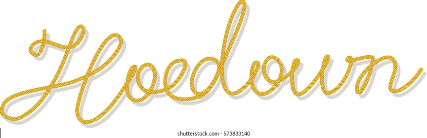 Word Hoedown written with a robe brush, EPS 8 vector illustration, brush included