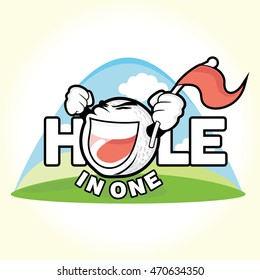 Word Hole in one with golf ball replacing letter O