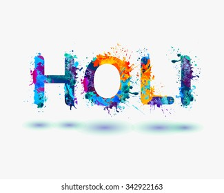 "Word ""HOLI"" Rainbow splash paint"