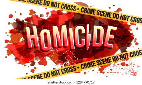 The word Homicide. Yellow tape Crime scene do not cross text. Vector creative illustration.