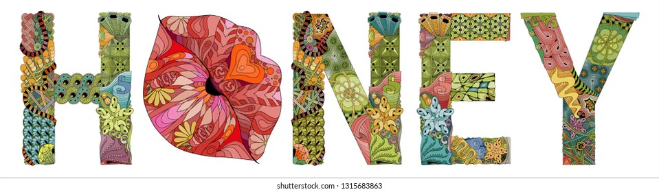 Word HONEY with lips silhouette. Vector zentangle object for decoration