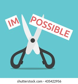 Word impossible on paper cut in two with scissors. Opportunity, courage, will power, desire, motivation and perseverance concept. EPS 8 vector illustration, no transparency