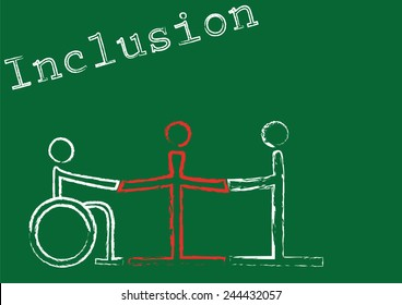 The word inclusion with the symbols for three people in different situations