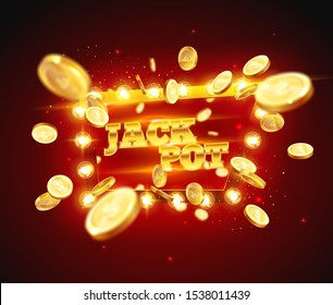 The word Jack Pot, surrounded by a luminous frame on a coins explosion background. The new, best design of the luck banner, for gambling, casino, poker, slot, roulette or bone.