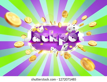 The word Jackpot, surrounded by a luminous frame and attributes of gambling, on a pink and green retro background. The luck banner, for gambling, casino, poker, slot, roulette or bone.