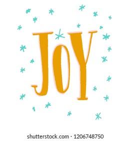word Joy - yellow letters around snowflakes blue