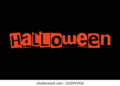 Word lettering Halloween collage art urban style vector