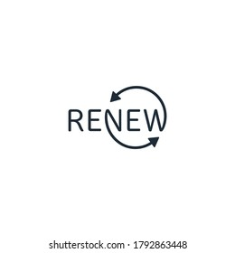 The word lettering is renew. Vector icon isolated on white background.