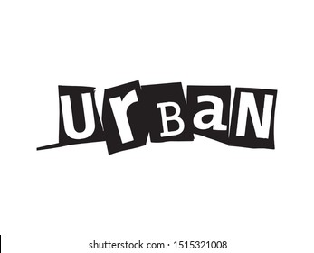 Word lettering Urban collage art photocopy urban punk style vector easy to use