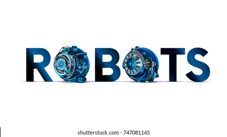 The word or logo  ROBOTS with mechanical letters on white background in the style of cyberpunk. The letter O in the style of the details of the cybernetic mechanism or robot