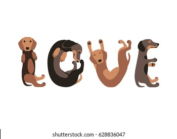 "Word ""love"" of dachshund dogs. Vector flat illustration"