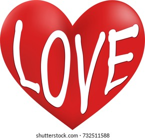 The word Love etched into a graphical heart