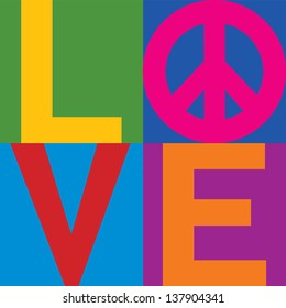 The word Love with Pace Symbol in a stacked color-block design. Type style is my own creation.