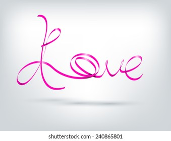 """Word """"LOVE with Pink ribbon"""