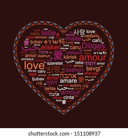 """word """"love"""" in thirty languages forming a heart shape"""