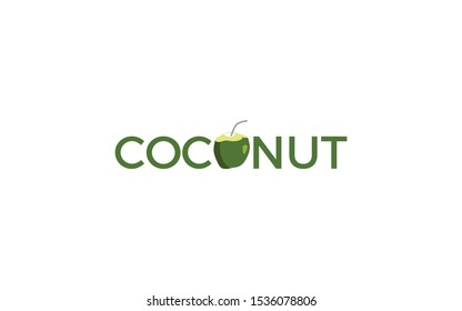 Word mark logo formed coconut icon in letter O