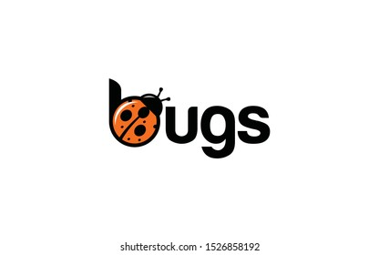 Word mark logo forming a bugs illustration on letter b