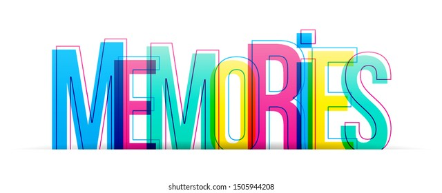 The word Memories. Colorful vector letters isolated on a white background. Typography banner card.