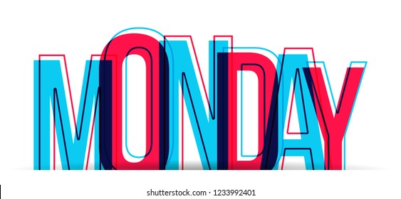 The word MONDAY in two colors, isolated on a white background