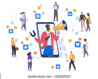 Word of mouth marketing flat vector illustration. Friends communicating and recommend each other goods cartoon characters. Referral program strategy. Business partnership. Affiliate network concept