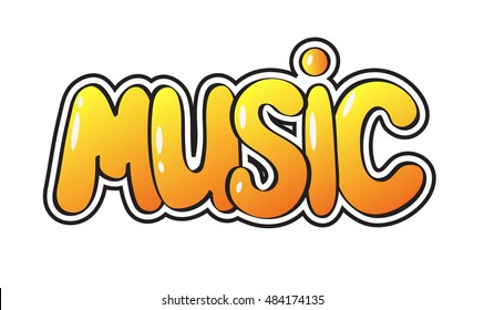 "Word ""Music"" in pop style isolated on white background. Art vector illustration."
