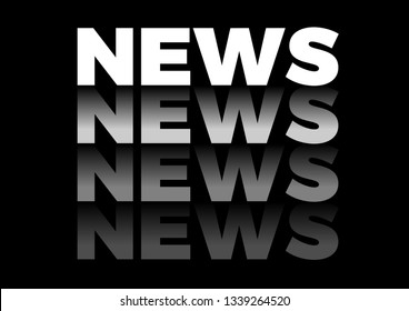 the word news in repetitive form, vector text in black background