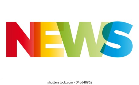 The word News. Vector banner with the text colored rainbow.
