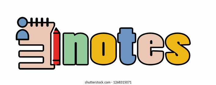 word notes with stylized icon. vector illustration.