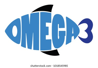 Word omega 3 shaped in fish symbol