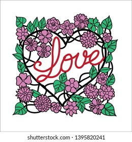 Word 'Love' ornated in floral heart frame. Romantic poster or card design.