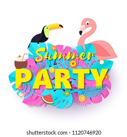 Word PARTY summer composition with creative pink and blue jungle leaves toucan flamingo fruits and coctail in paper cut style. Tropical craft design for your poster, banner, flyer. Vector card.