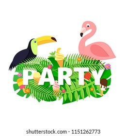 Word PARTY summer composition with jungle leaves flower ice cream toucan flamingo on white background in paper cut style. Tropical leaf for design poster, banner, flyer T-shirt printing Vector