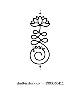 Word peace and Buddhist symbol for life path with lotus flower