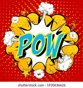 Word Pow on comic cloud explosion background illustration
