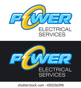 The word POWER with stylized lightning letter O and the words - ELECTRICAL SERVICES. Vector logo and sign.