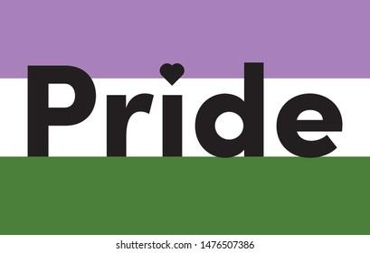 The word Pride. Vector banner. Genderqueer pride flag. LGBTQ pride flag. Symbol of lesbian, gay, bisexual, transgender, and queer pride.