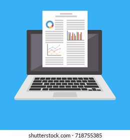 Word processor. Business report or document on laptop screen