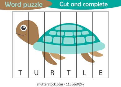 Word puzzle, turtle in cartoon style, education game for development of preschool children, use scissors, cut parts of the image and complete the picture, vector illustration