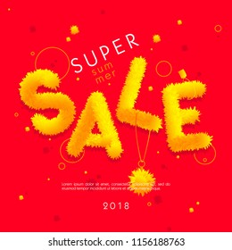 """The word """"Sale"""" from the abstract yellow fluffy substance on red background."""