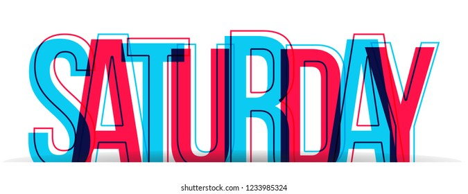 The word SATURDAY in two colors, isolated on a white background