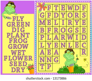 Word search, children's colorful springtime word search puzzle with gardening frogs and flowers.Vector.