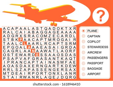 Word search puzzle about aviation. Visual test to play finding the hidden words in the horizontal, vertical and diagonal rows. Vector image in cartoon style, available in EPS 10.